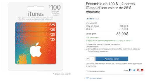 Carte Itunes Cora.Costco 100 De Cartes Itunes Pour Seulement 79 99 Les